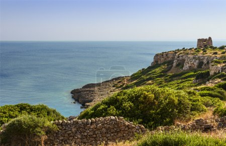 APULIA LANDSCAPE.Natural Park of Porto Selvaggio : Uluzzo watchtower.(Salento) Italy.