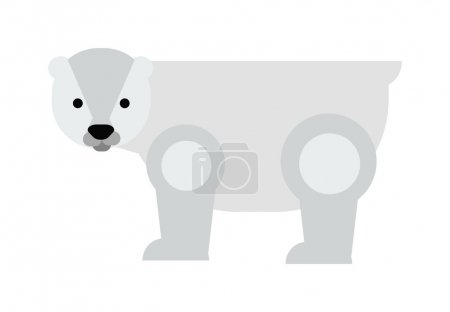 Cartoon white polar bear vector illustration.