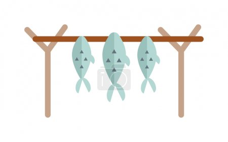 Dried fish vector illustration.