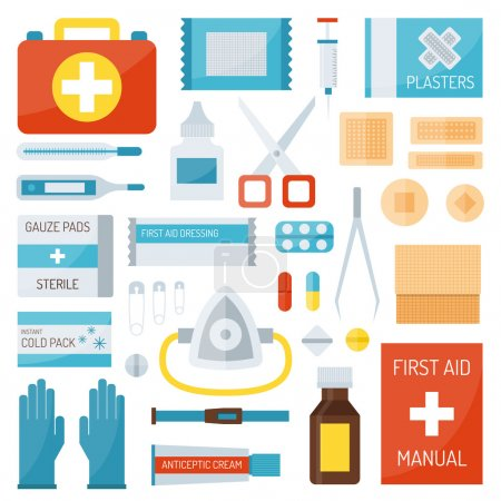 Illustration for First aid kit isolated on white background and first aid symbols vector. First aid symbols medical symbol emergency sign and kit cross first aid symbols. Assistance equipment case safety sign. - Royalty Free Image