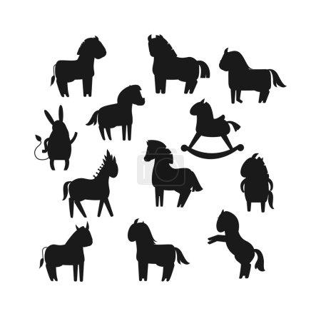 Cartoon horse black silhouette vector illustration.