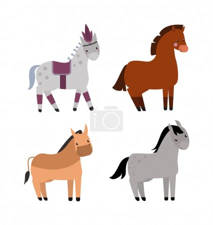 Cartoon horse vector illustration.