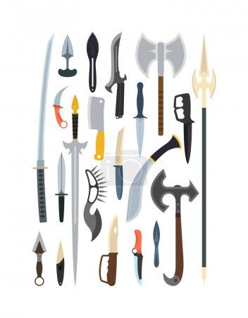Knifes weapon vector illustration. Toy train vector illustration.