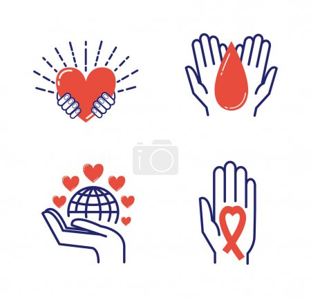 Illustration for Volunteer icons donate charity donation vector set. Humanitarian volunteer icons awareness hand hope aid support and assistance care service human volunteer symbols. Collection shape donate concepts - Royalty Free Image