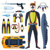 Set of equipment with flat yellow elements for diving and spearfishing in sea rivers and lakes Spearfishing underwater sea diver equipment Vector professional hunter spearfishing diving equipment