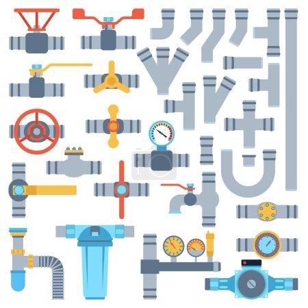 Illustration pour Ensemble de détails de couleur tuyaux différents types collection. Ensemble vectoriel de tuyaux industrie des tubes d'eau, construction de soupapes à gaz. Technologie de pression industrielle d'huile tuyaux de plomberie. Ingénierie sidérurgique . - image libre de droit