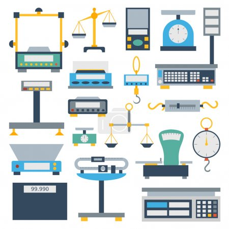Illustration for Web icon scales set law weigh legal court judge lawyer. Measurement justice isolated scales weighing equilibrium weight balance. Freedom industry protection punishment decision vector instrument. - Royalty Free Image