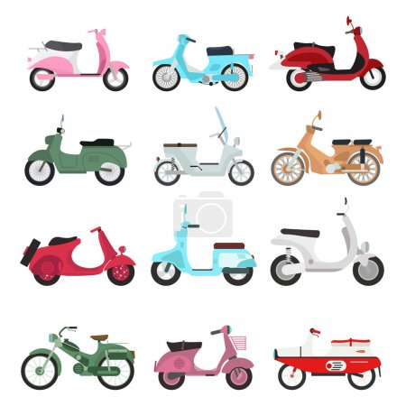 Retro motorbike vector set.