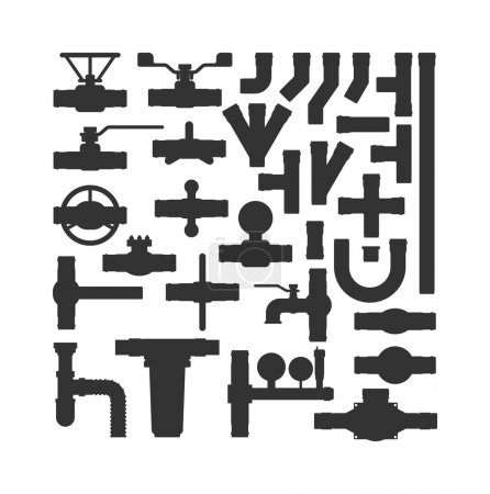 Illustration for Set of color details pipes different types collection. Vector set of pipes water tube industry, gas valve construction. Oil industrial pressure technology plumbing pipes. Steel factory engineering. - Royalty Free Image
