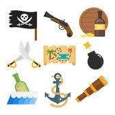 Treasures icons vector set