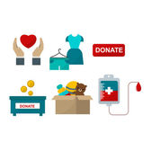 Donate help symbols charity organization heart flat icons set of food and clothes donation abstract isolated vector illustration Humanitarian holding money donate help symbols Donate symbols