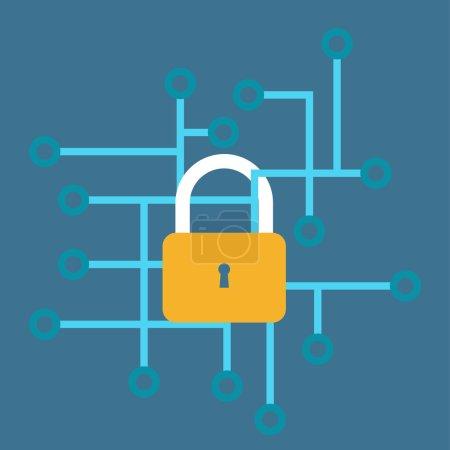 Internet security vector illustration. Internet sa...
