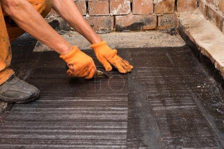 Installation of roll  waterproofing