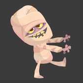 Cartoon walking mummy character Vector clip art illustration of mummy monster for Halloween isolated