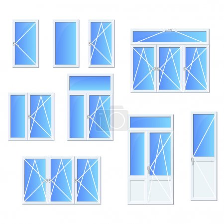 Illustration for White plastic Windows and window systems with isolated high quality vector set for web and printed catalogs, descriptions and instructions. Vector icons set. - Royalty Free Image