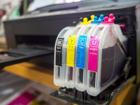digital printing press, closeup of the toner cartridges