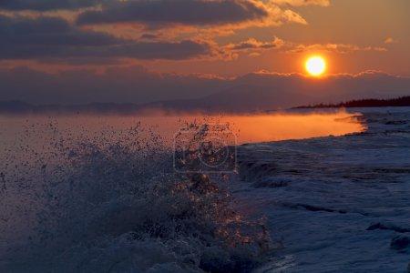 The Sea of Okhotsk , sunrise , island Sakhalin