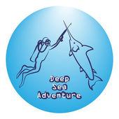 Diver and swordfish - friends-fencers Deep sea adventure