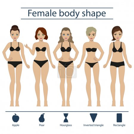 Illustration for Set of five different types of female figures - hourglass, apple, pear, rectangle, inverted triangle. Vector. - Royalty Free Image