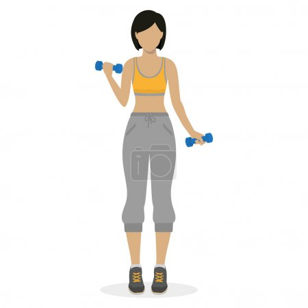 Girl with dumbbells
