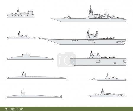 Vector military set. Warships.