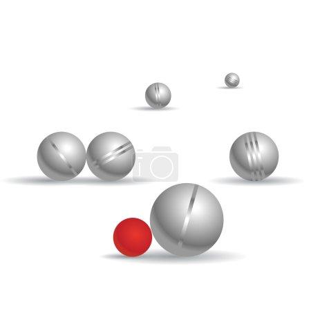 Petanque game, metal balls on white background.