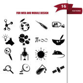 Set of  sixteen science icons