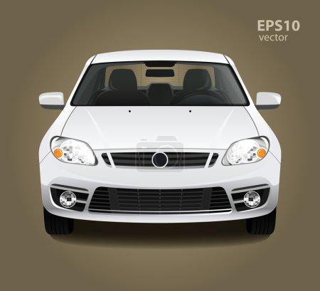 Illustration pour Nouvelle voiture blanche brillance propre moderne. Vue de face. Illustration vectorielle en couleur 3D HD réaliste. Studio photo lumière . - image libre de droit