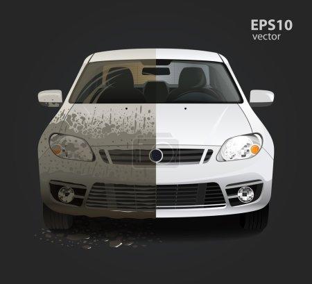 Illustration pour Service de lavage de voiture concept créatif. Illustration vectorielle couleur 3D détaillée Hd haute . - image libre de droit