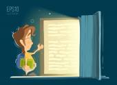 Happy smile child kid boy open and reading big old magic book Bright color vector illustration