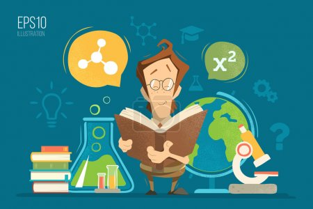 Photo for School education colorful vector illustration concept. Young schoolboy boy child kid pupil holding and reading a book or textbook and learning geography, chemistry, physics and mathematics maths lessons. - Royalty Free Image