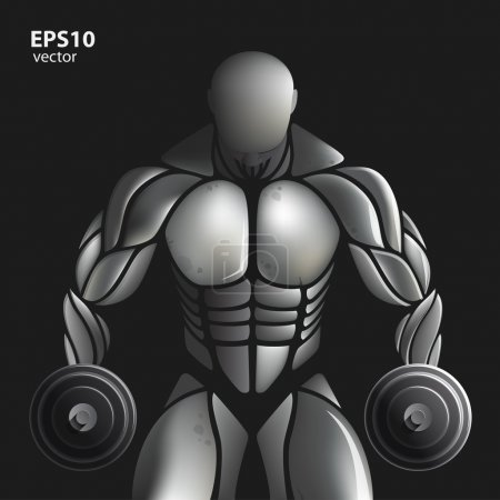 Steel man gym illustration