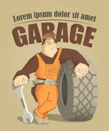 Car tire tyre service illustration poster