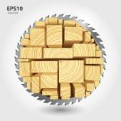 Lumber and wood slice illustration concept