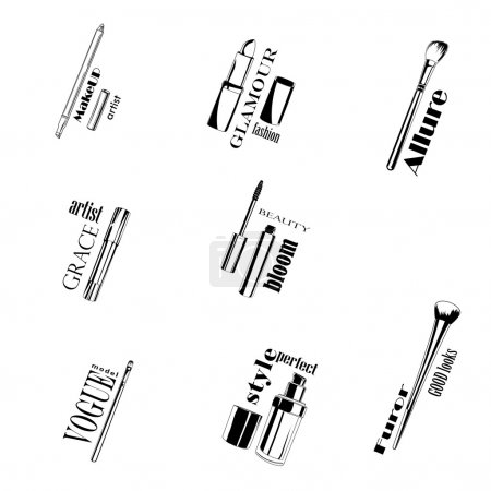 Make up Tools black and white isolated with text