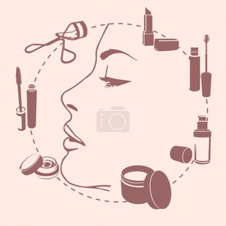 set make up tools around face