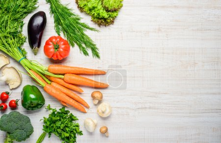 Photo for Healthy eating organic food, vegetables with copy space - Royalty Free Image