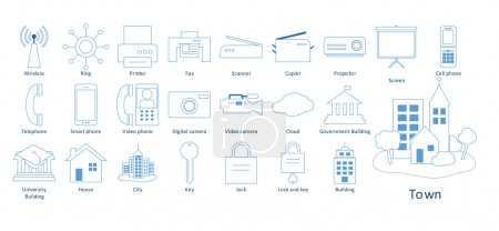 Modern icons set quality outline symbol collection pack. Stroke vector logo concept,web graphics. vector illustration