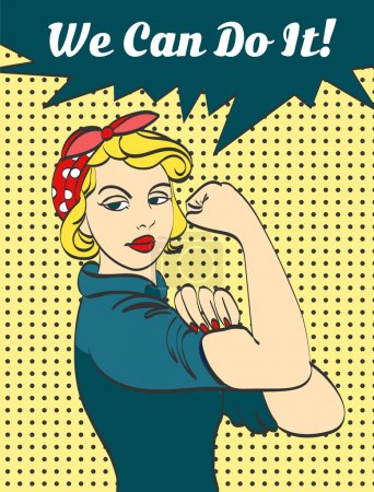 We Can Do It. Iconic womans fist symbol of female power and industry. cartoon woman with can do attitude