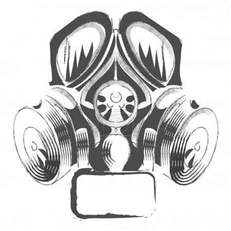 Illustration for Vector respirator graffiti steampunk style gas mask on white background. - Royalty Free Image