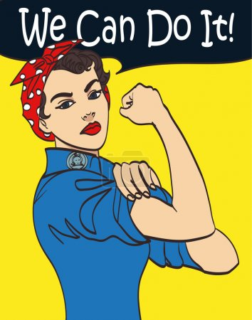 Illustration for We Can Do It. Cool vector iconic womans fist symbol of female power and industry. cartoon woman with can do attitude. Isolated lineart eps 10. - Royalty Free Image