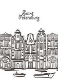 Old houses vector art Saint Petersburg postcard format Isolated eps 10 on layers