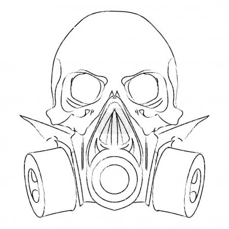 Illustration for Vector punk steampunk lineart Skull with gas mask. - Royalty Free Image
