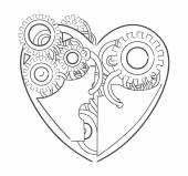 Cool steampunk mechanical heart hand drawn illustration