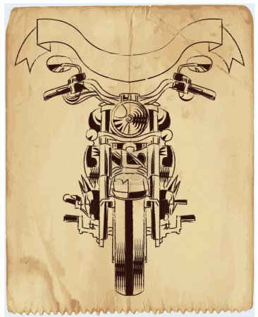 Vector grunge background with a hot rod motorcycle