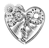 steampunk hipster vector drawing Valentine heart art element for card site