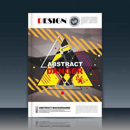 Abstract composition, protector trail icon, wheel track image, a4 brochure title sheet, text frame surface, creative figure, logo sign, triangle danger firm banner form, attention flier fashion, EPS10