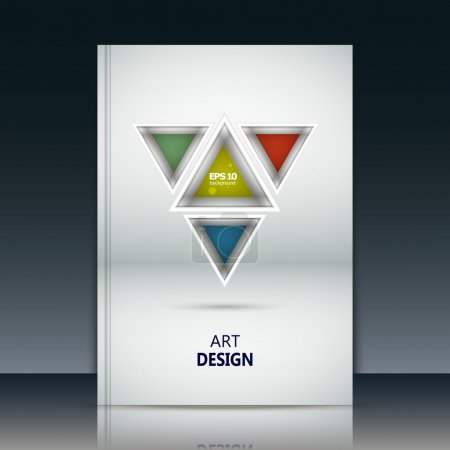 Abstract composition, yellow, red, blue, green triangle part construction, text frame surface, white a4 brochure title sheet, creative figure icon, logo sign, firm banner form, flier fashion, EPS10