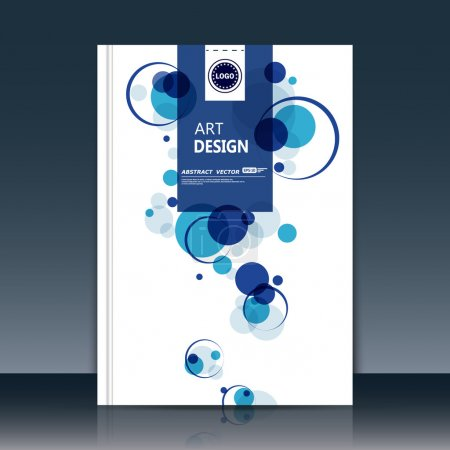 Abstract composition, text frame surface, white a4 brochure title sheet, creative figure, logo sign construction, firm banner form, blue round icon, transparent circle, flier fiber, EPS10 illustration