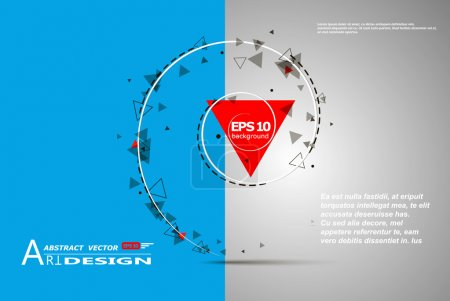 Abstract composition, text frame surface, white, blue title sheet, a4 brochure issue, creative figure, red triangle contour icon, logo construction, banner form texture, flyer fiber, EPS10 backdrop